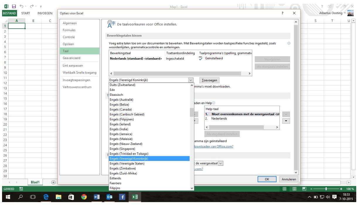 Taal veranderen in Excel
