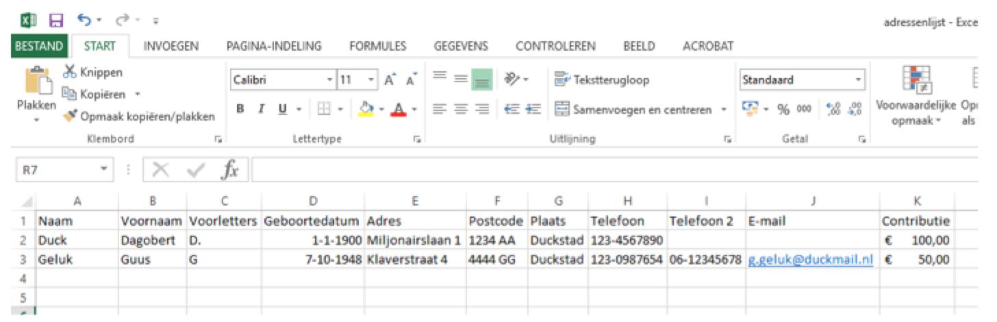 Adressenlijst Excel