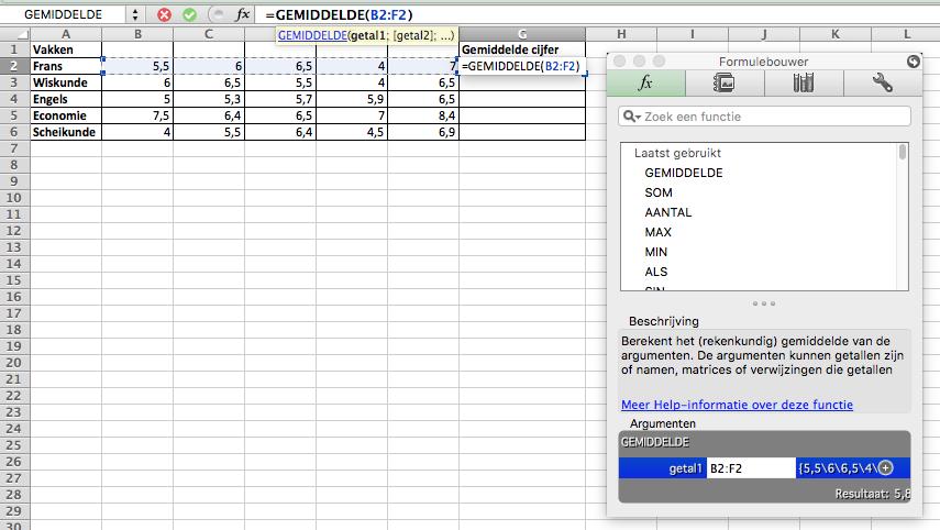 Gemiddelde berekenen in Excel