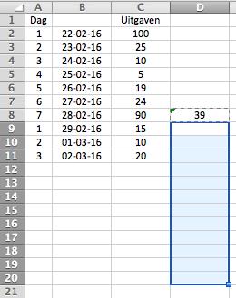 Schuivend gemiddelde berekenen in Excel
