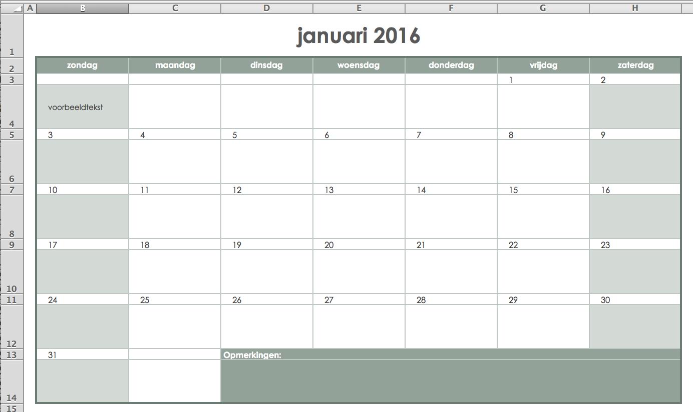 Kalender maken in Excel