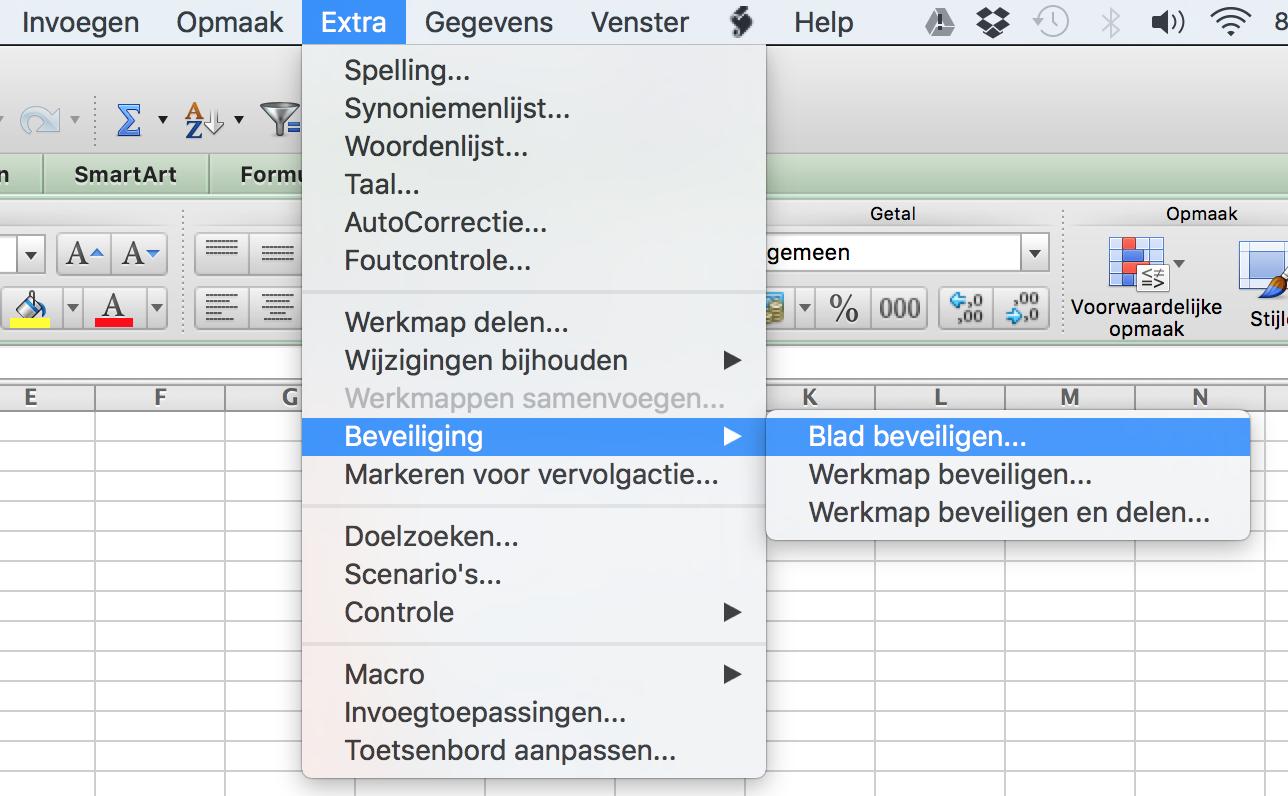 Werkblad beveiligen in Excel