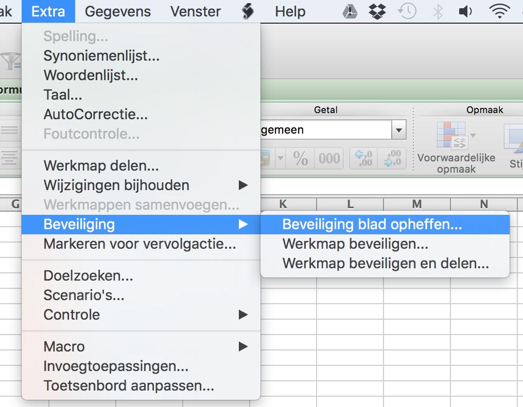 Beveiliging in Excel opheffen