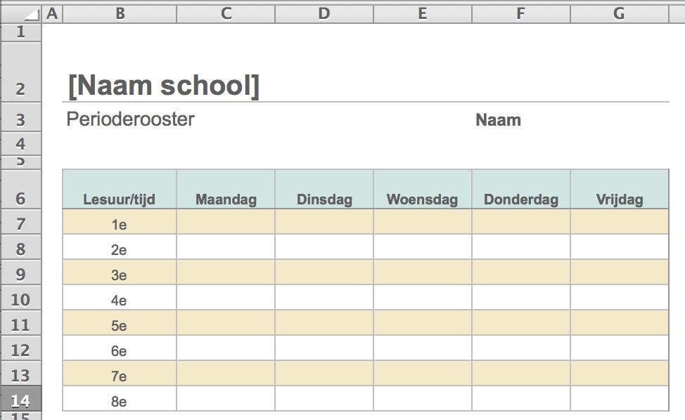 Weekrooster maken in Excel
