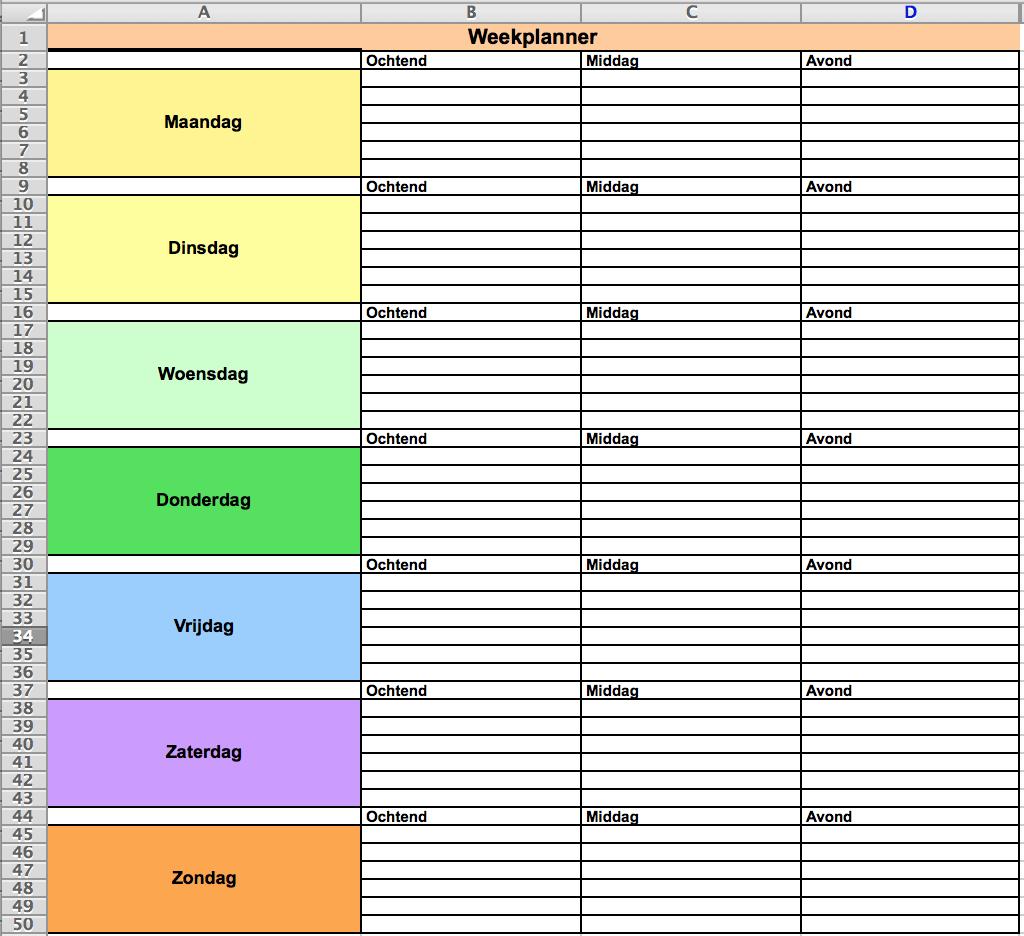 Weekplanning maken in Excel