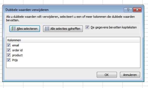 Duplicaten verwijderen in Excel