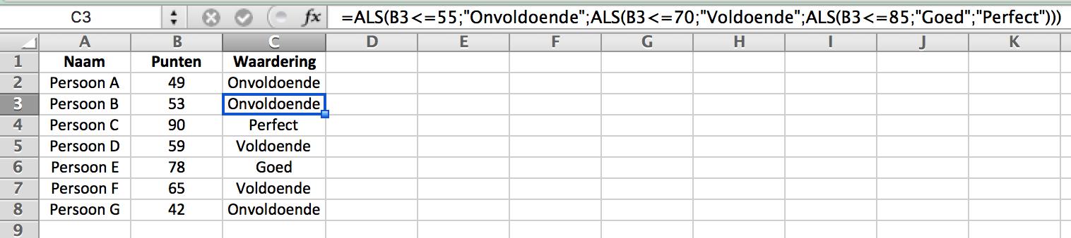 Geneste ALS functie in Excel