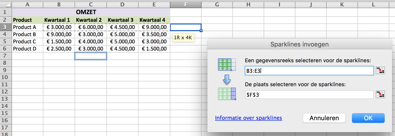Citaten Weergeven Excel : Sparklines in excel handleiding