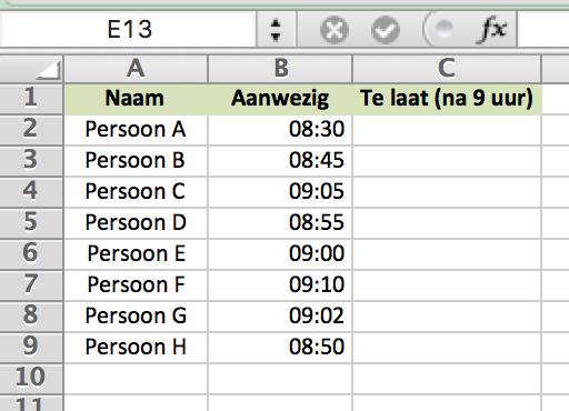 AANTAL.ALS functie in Excel