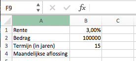 Maandelijkse aflossing berekenen in Excel