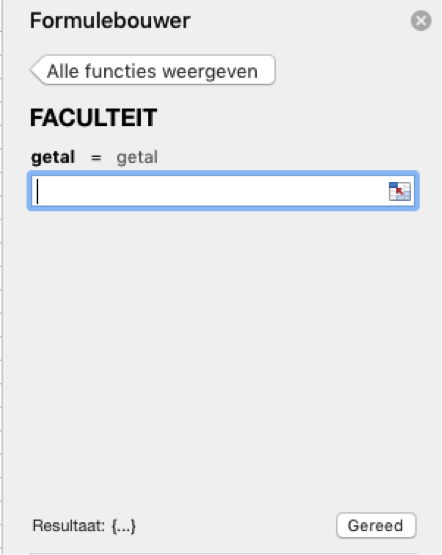 Functie Faculteit Excel