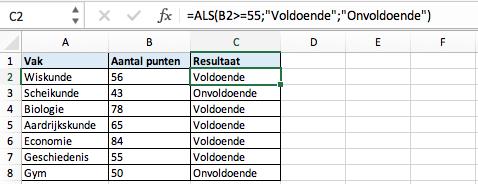 Functie ALS Excel