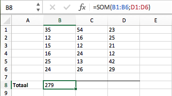 Functie SOM Excel