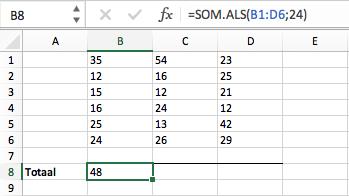 Functie SOM ALS Excel