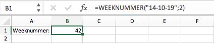 WEEKNUMMER Excel